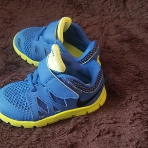 Nike Blue and  Neon Yellow Toddler Sneaker Shoes